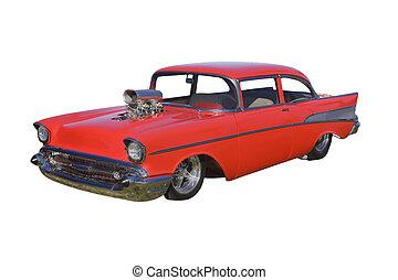 supercharger, feltuningolt autó, piros