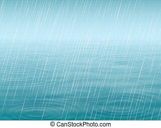 superfície água, com, onda, e, chuva cadente