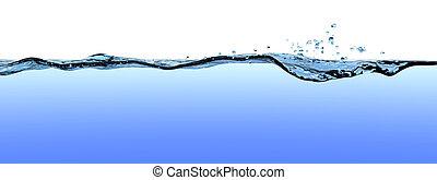 superfície água, com, ondas, ondulações, e, drops.