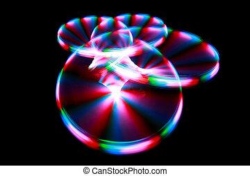 superfície, com, luz, quadro, raias, durante, rotação