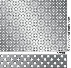 superfície escovada metal, com, holes.