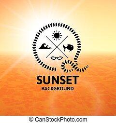 superficie, acqua, tramonto, mare giallo, arancia