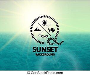 superficie, acqua, verde, mare, tramonto, calce