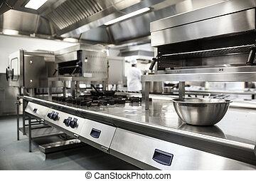 superficie de trabajo, y, equipo de cocina
