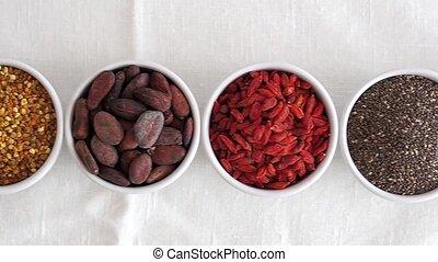 Various superfoods - Superfood and detox ingredients in...