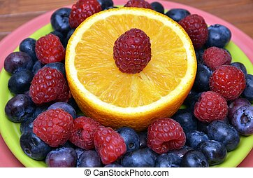 Superfood Antioxidant Fruit Plate - Bright colorful healthy...