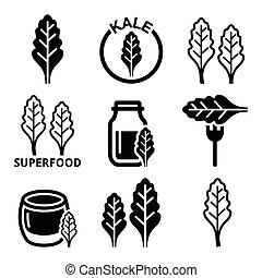 superfood, bladeren, -, boerenkool, iconen
