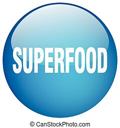 superfood blue round gel isolated push button