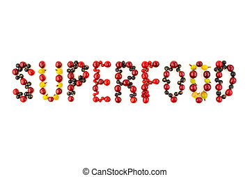 Superfood. Colorful assorted berry mix of cherry, black currant, red currant...