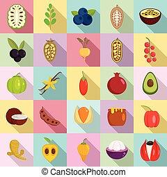 Superfood icons set, flat style