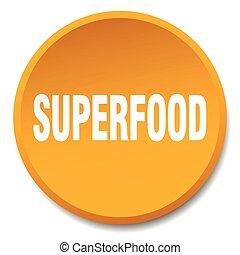 superfood orange round flat isolated push button