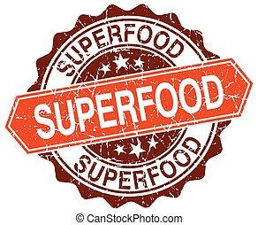 superfood orange round grunge stamp on white