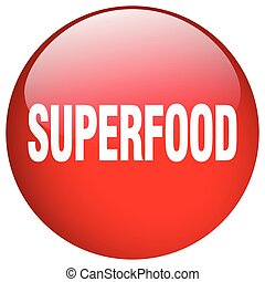 superfood red round gel isolated push button