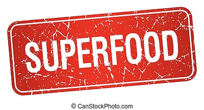 superfood red square grunge textured isolated stamp