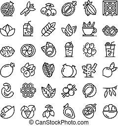 superfood, schets, iconen, set, stijl
