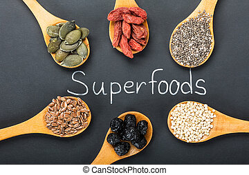 Superfoods Text With Ingredients In A Wooden Spoon - ...