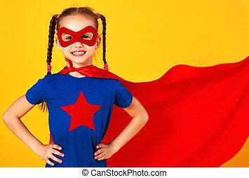 superhero , παιδί , βάφω κίτρινο φόντο , γενική ιδέα , κοστούμι