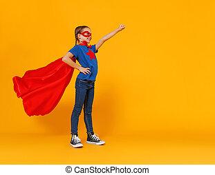 superhero , φόντο , γενική ιδέα , κοστούμι , κίτρινο , παιδί