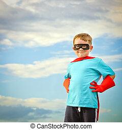 superhero, ありなさい, 子供, ふりをすること