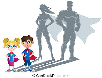 superhero, 子供, 概念