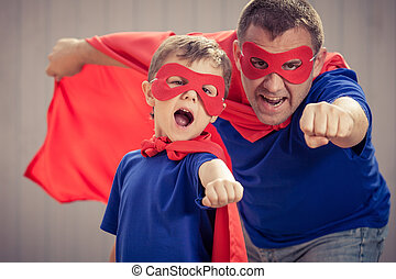 superhero, 父, 息子, time., 屋外で, 遊び, 日