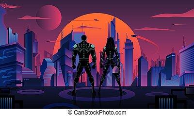 superhero, 都市, 2, 未来派, 恋人