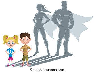 superhero, 2, gosses, concept