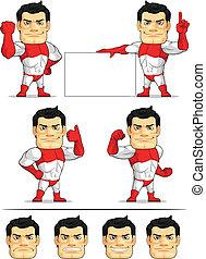 superhero, 2, mascotte, customizable