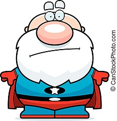 superhero, aburrido, abuelito, caricatura