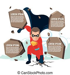 Superhero Actions Cartoon Character Template Vector