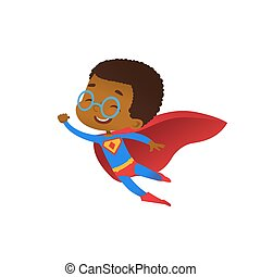 Superhero African Cute Kid Fly Costume Flat Vector. Happy Smile Little Brave Boy Wear Red Cape. Cool Strong Defender Superman Symbol Character Isolated Comic Party Cartoon Illustration