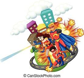 Superhero and city background