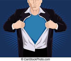 superhero, apertura, camicia