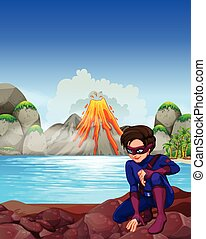 Superhero at the lake