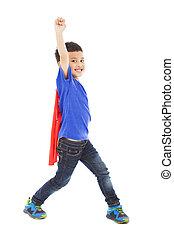 superhero, augmentation, main, héros, gosse, heureux