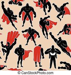 superhero, azione, seamless, modello