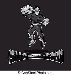 superhero, azione, vettore, disegno, sagoma