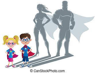 superhero, børn, begreb