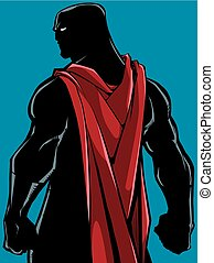 Comics style silhouette illustration of powerful superhero standing ready for battle.