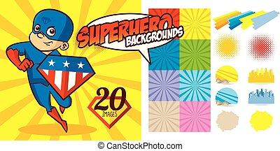 Superhero Background set Super hero character Vector