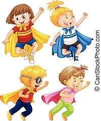superhero, bambini, gioco, ruolo, bianco, fondo