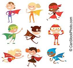 superhero, bambini, ragazzi ragazze, cartone animato, vettore, illustrationt