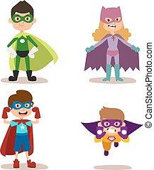 superhero, bambini, ragazzi ragazze, cartone animato, vettore, illustrazione
