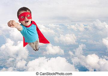 superhero, bambino boy, volare