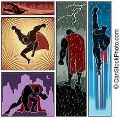 Superhero Banners 3 - Set of 5 superhero banners. No...