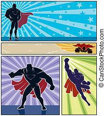 Superhero Banners - Set of 4 superhero banners. No...