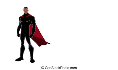 Superhero Black on White - Powerful black superhero with red...
