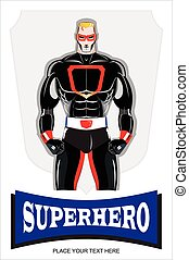 superhero. - Blonde masked superhero in black costume.