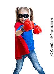 superhero, boks rękawiczki, dziecko