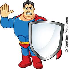 superhero, -, bouclier, tenue